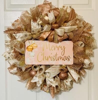 Rose Gold Wreath, Merry Christmas Wreath, Elegant Christmas Decor, A Touch of Faith