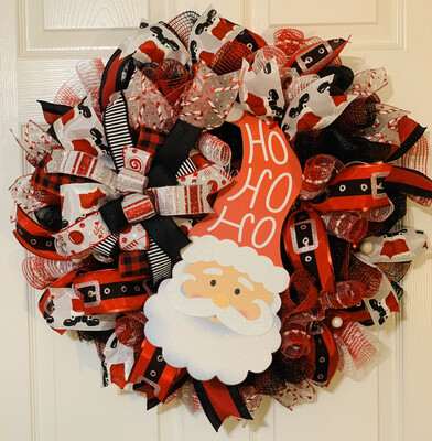 Santa Wreath, Santa Claus Decorations, HoHoHo, A Touch of Faith