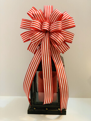 Red White Christmas Bow, Candy Cane Bow, Wreath Bows, Cabana Stripe Ribbon, Red White Decor, A Touch of Faith