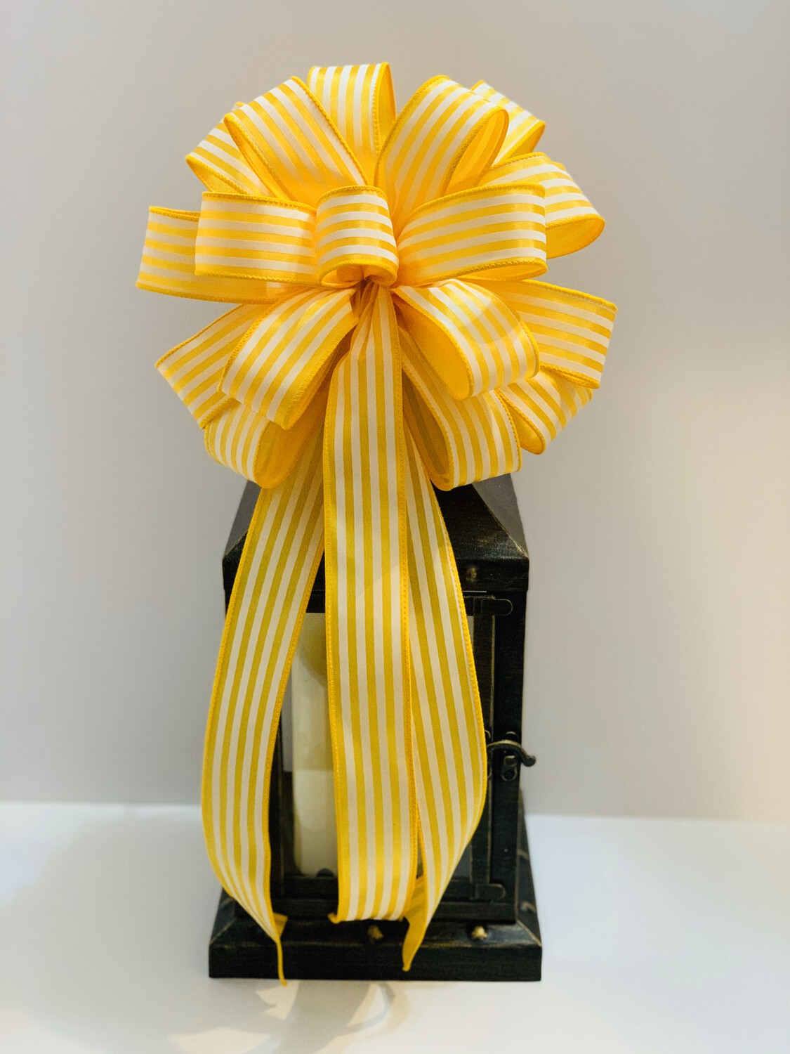 Sunflower Yellow White Bow, Wreath Bows, Cabana Stripe Ribbon, Yellow White Decor, A Touch of Faith