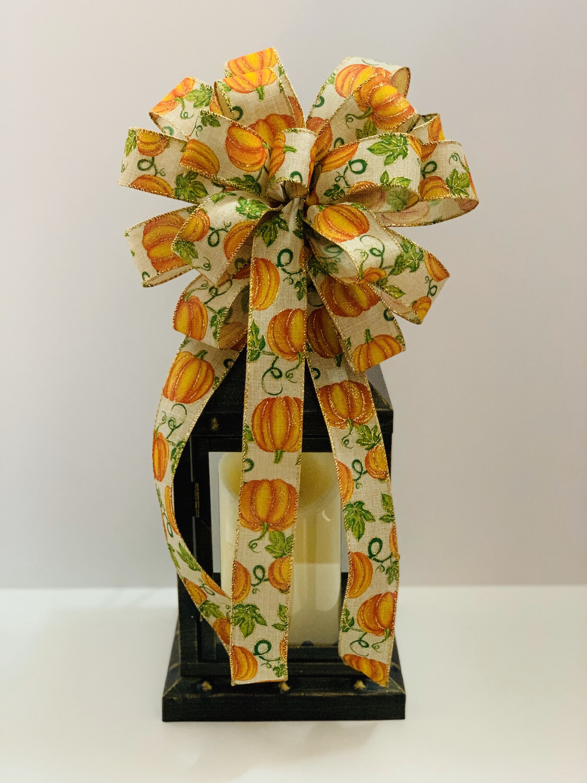Glitter Pumpkin Bow, Pumpkin Decorations, Fall Bow for Wreath, A Touch of Faith
