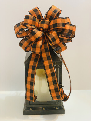 Orange & Black Buffalo Check Bow, Halloween Bow, Fall Bow for Wreath, Thanksgiving Bow, A Touch of Faith
