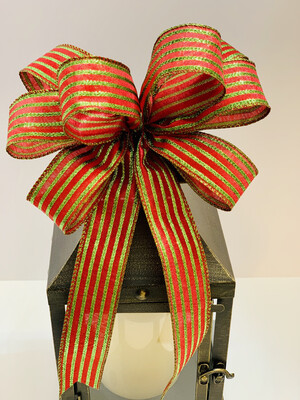 Red and Lime Green Bow, Metallic Lamé Stripe Bow, A Touch of Faith