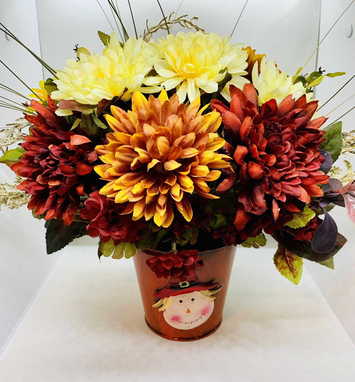 Scarecrow Planter, Fall Centerpiece, Mums Zinnia Mix Decor, A Touch of Faith