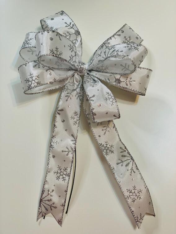 Snowflake Bow, Snow Decoration, Wreath Bow, A Touch of Faith