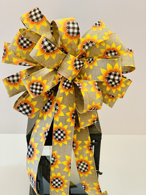 Fall Sunflower Buffalo Plaid Bow, A Touch of Faith