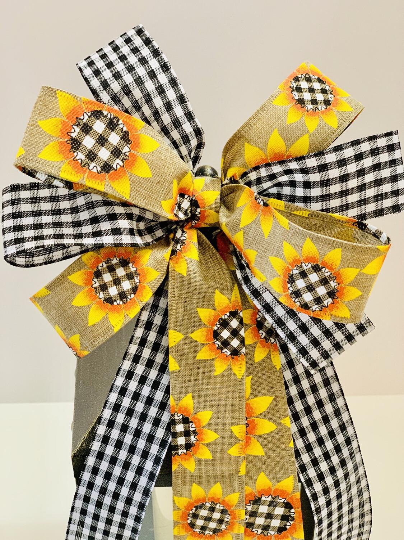 Fall Sunflower Buffalo Plaid Gingham Check Bow, A Touch of Faith