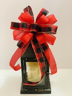 Christmas Red and Black Buffalo Plaid Mix Bow, A Touch of Faith