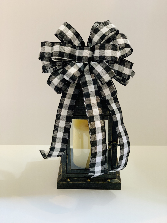 Fall Black & White Buffalo Plaid Bow, A Touch of Faith