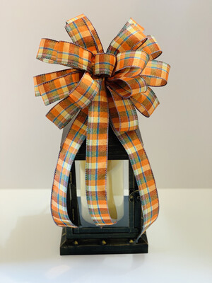Fall Scarecrow Plaid Teal & Orange Bow, A Touch of Faith