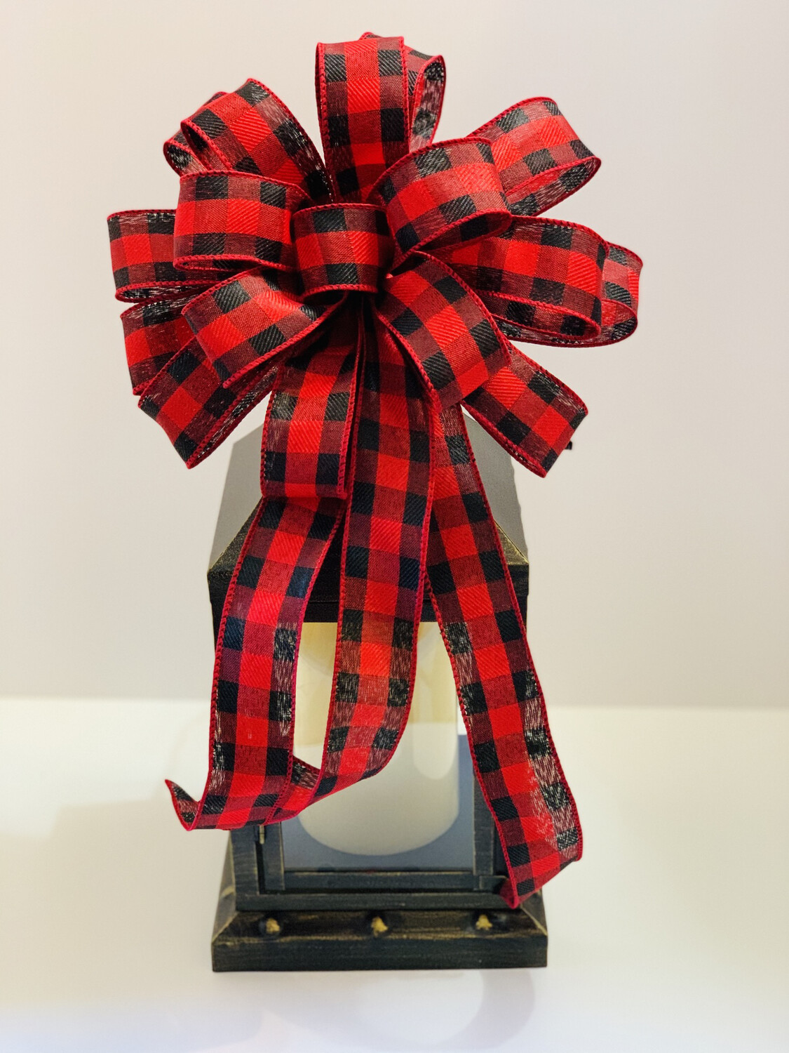 Christmas Red and Black Buffalo Plaid Bow, A Touch of Faith
