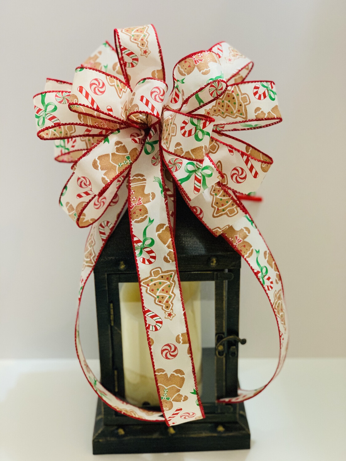 Gingerbread Candy Canes Christmas Bow