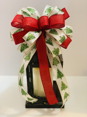 Red and Green Christmas Trees Bow