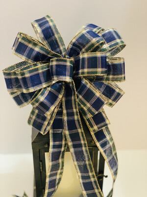 Blue and Green Plaid Bow