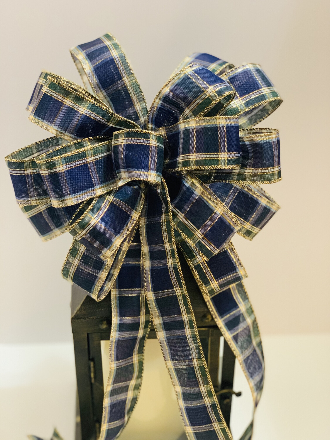 Christmas Blue and Green Plaid Bow, A Touch of Faith