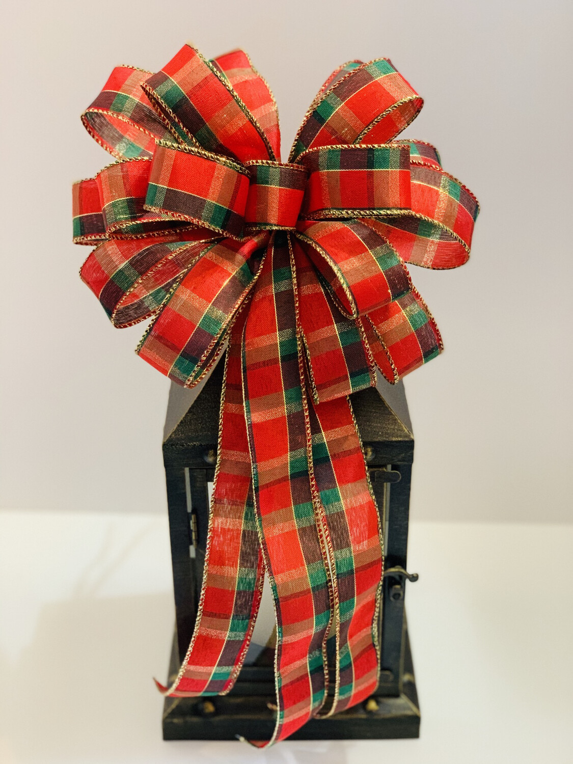 Christmas Red and Green Plaid Bow, A Touch of Faith