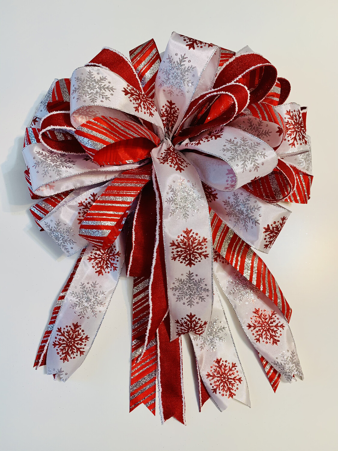Christmas Red White Silver Tree Topper Bow, A Touch of Faith
