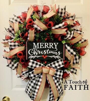 Merry Christmas Evergreen Wreath, Country Buffalo Plaid Decor, A Touch of Faith