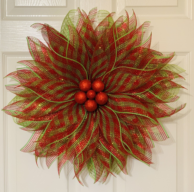 Christmas Poinsettia Wreath, Red Green Christmas Wreath, Christmas Flower Wreath, A Touch of Faith