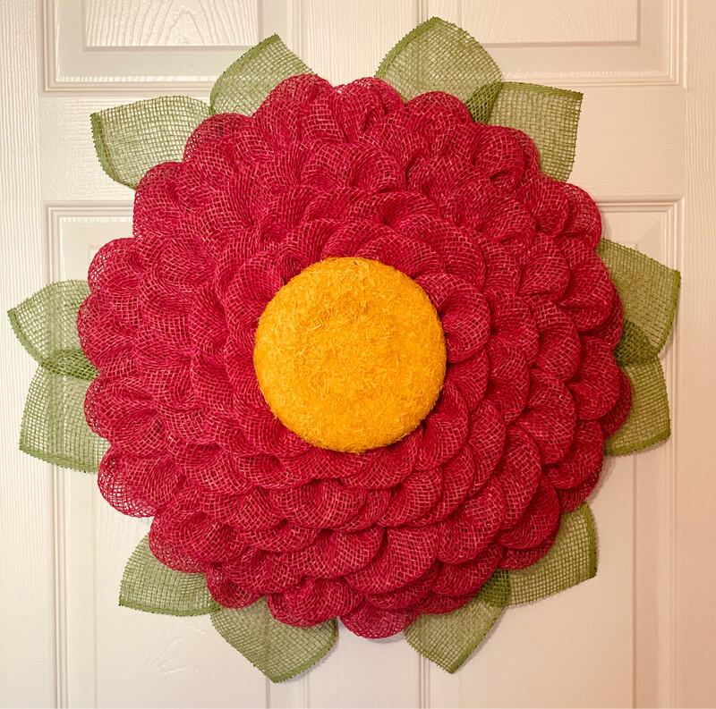 Fuchsia Burlap Flower Wreath, A Touch of Faith