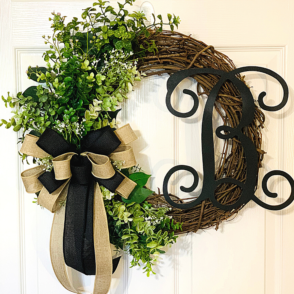 Everyday Grapevine Wreath With Initial, A Touch of Faith