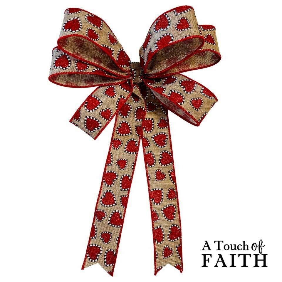 Valentine Bow, Hearts Bow, Red Heart Decor, A Touch of Faith