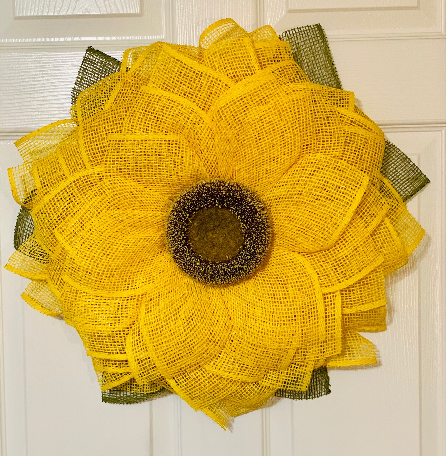 Sunflower Yellow Burlap Flower Wreath, A Touch of Faith