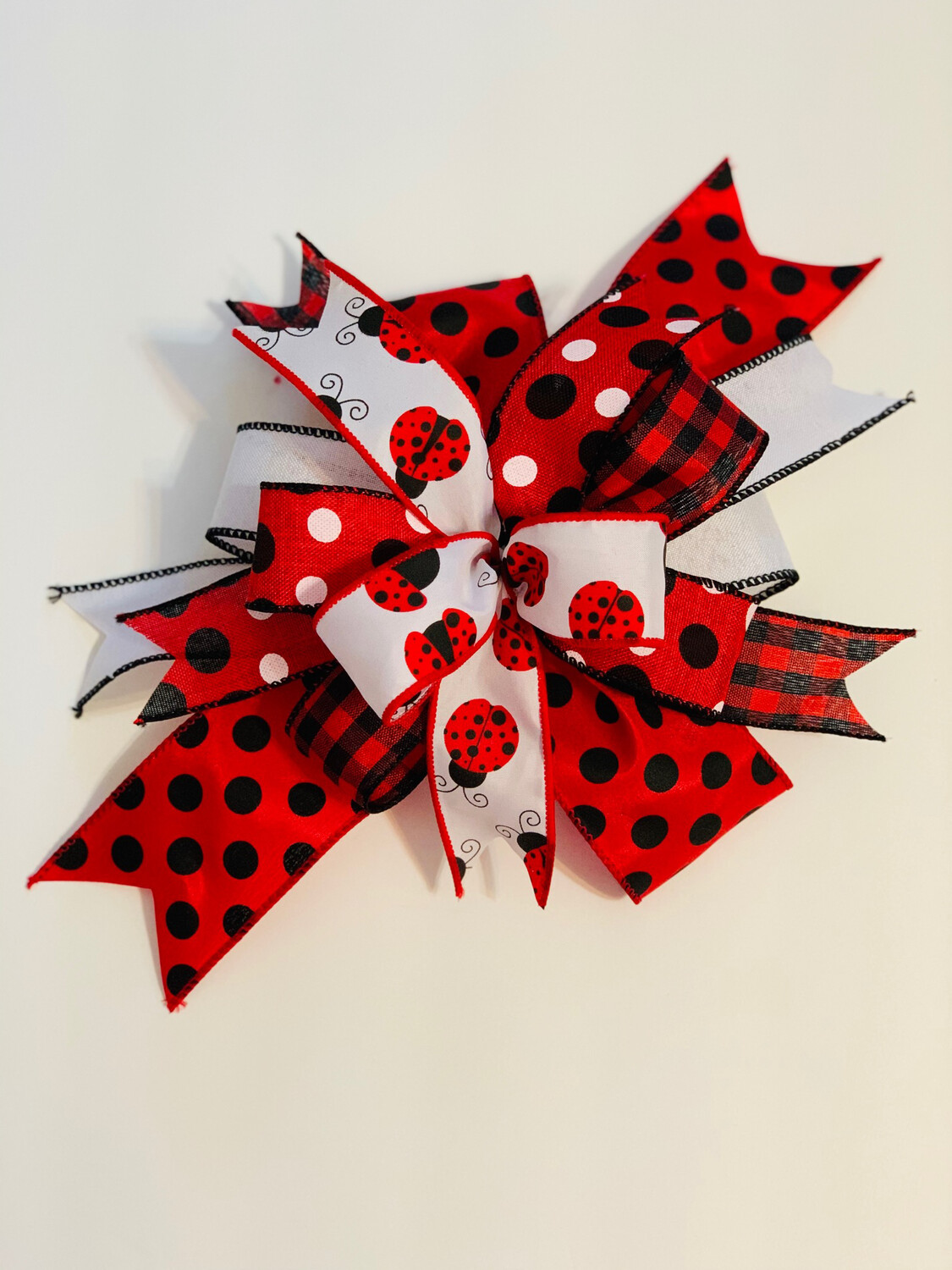 Ladybug Bow for Wreath, Red Black Décor, A Touch of Faith