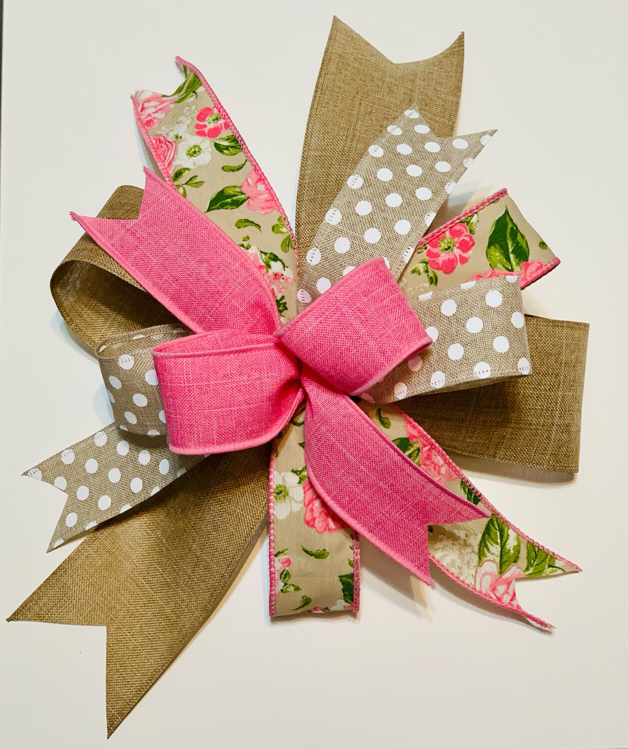 Spring Summer Bow for Wreath, Mother's Day, A Touch of Faith