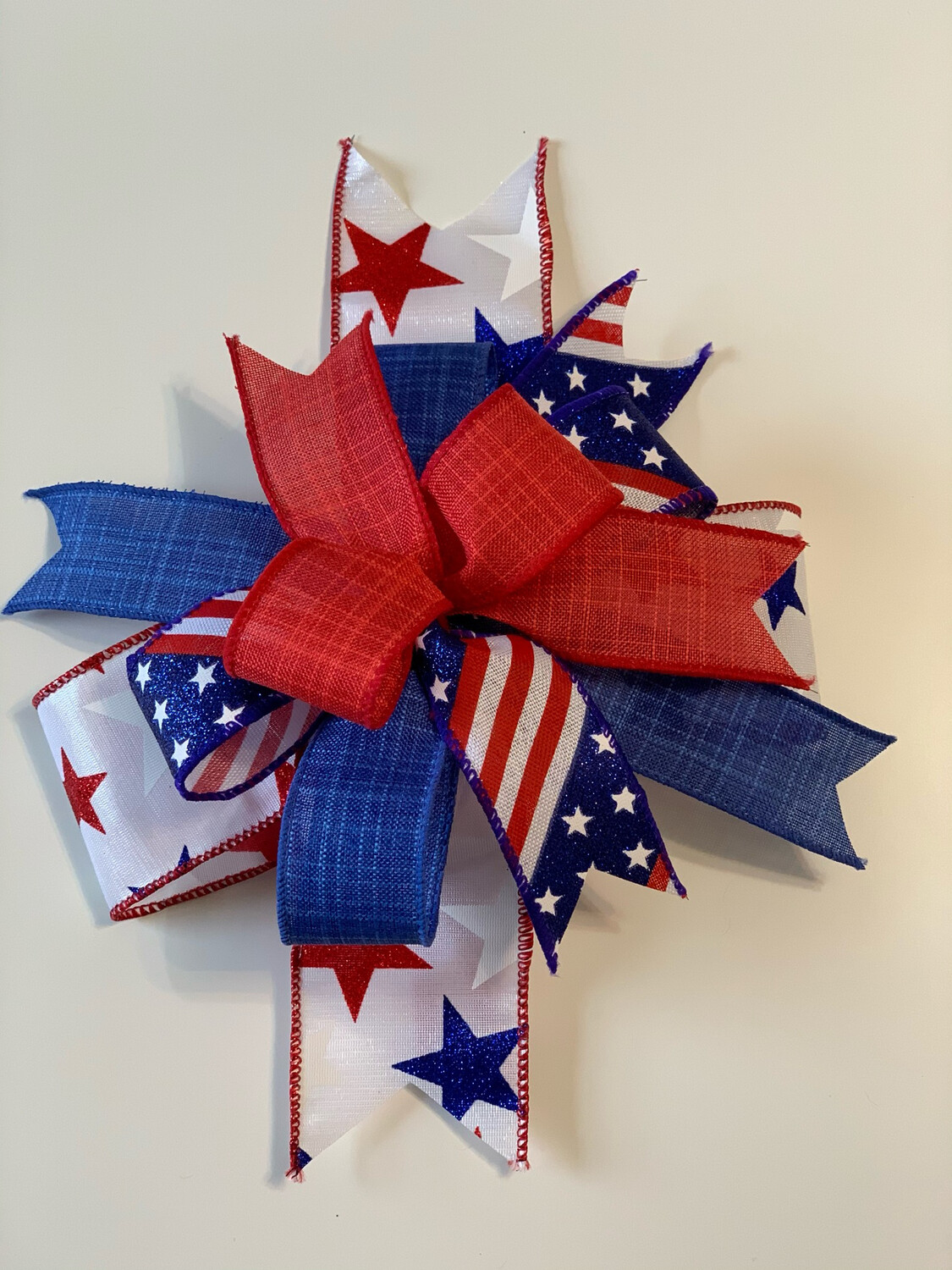 Patriotic Bow for Wreath, Red White Blue Décor, A Touch of Faith