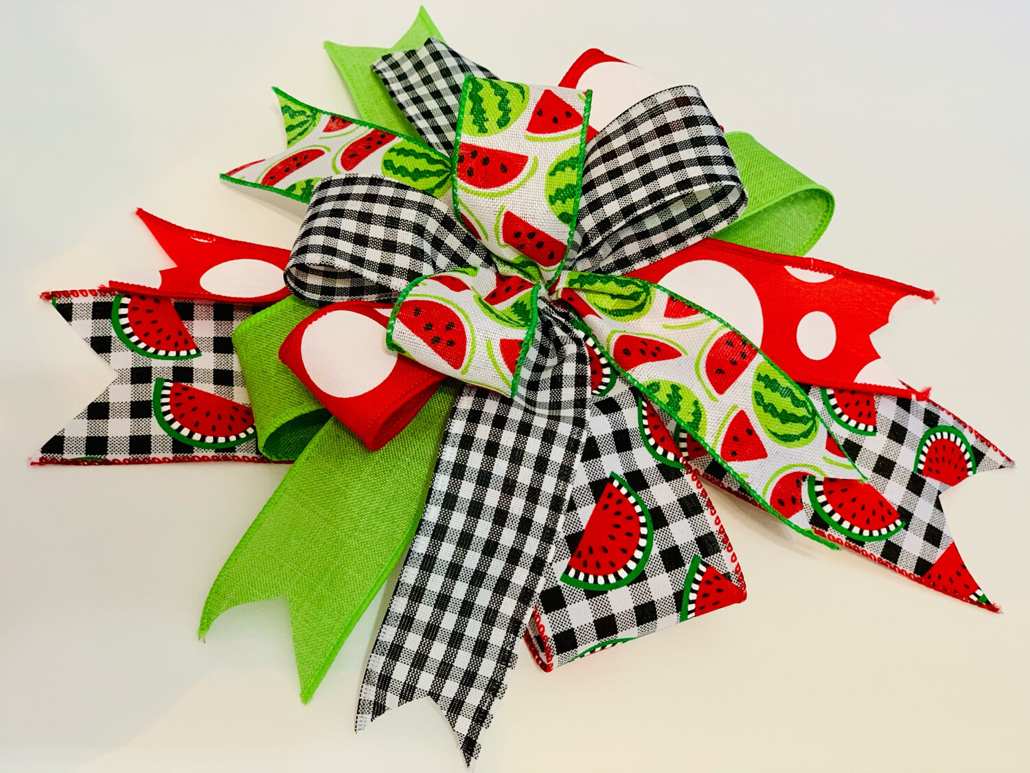 Watermelon Bow for Wreath, Black White Red Décor, Summer Decoration, A Touch of Faith