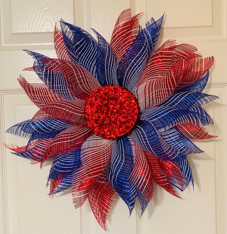 Patriotic Flower Wreath, A Touch of Faith