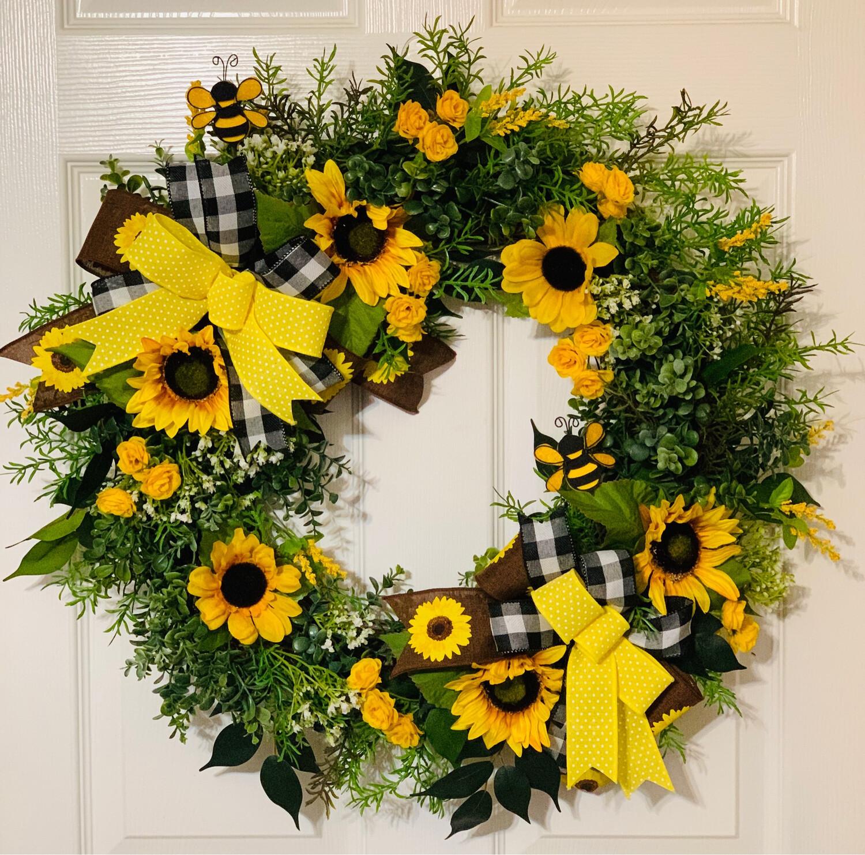 Sunflower Grapevine Wreath, A Touch of Faith