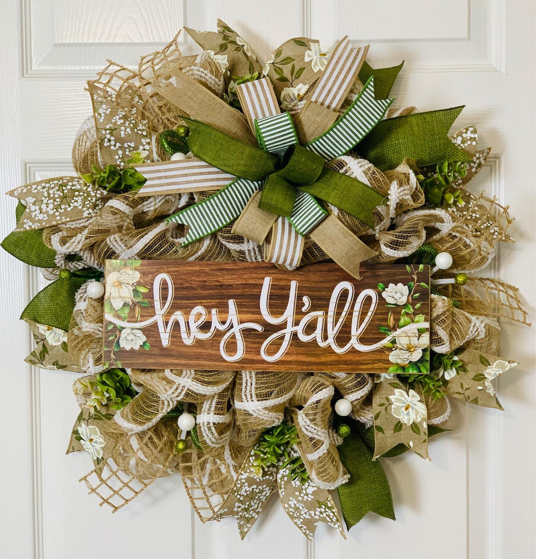Hey Y'all Magnolia Wreath, A Touch of Faith