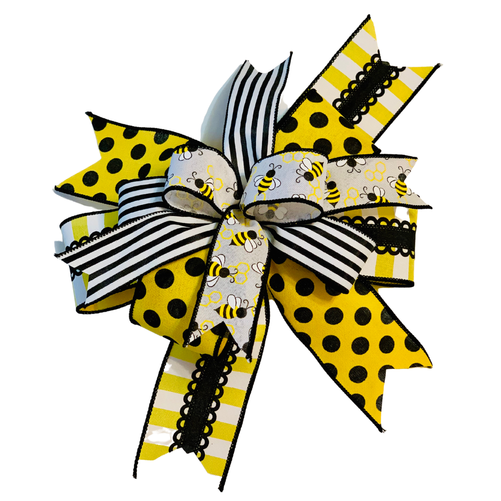 Bumblebee Bow for Wreath, Yellow Black White Décor, A Touch of Faith
