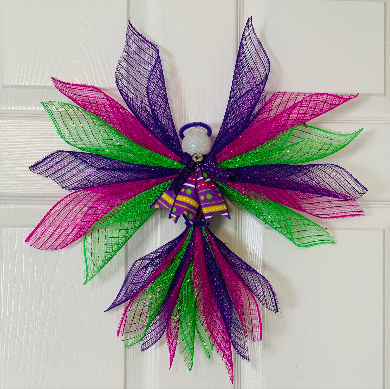 Summer Angel, Hot Pink Purple Lime Green Ornament, Angel Wall Hanging, A Touch of Faith