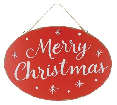 Merry Christmas Red Wreath Sign