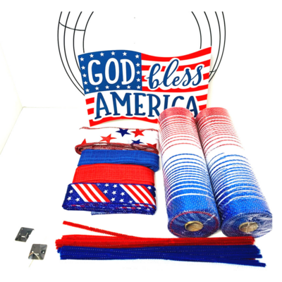 God Bless America Patriotic Wreath Kit, A Touch of Faith