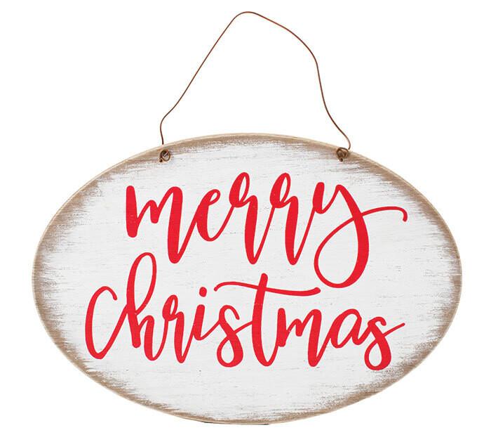 Merry Christmas White Wreath Sign