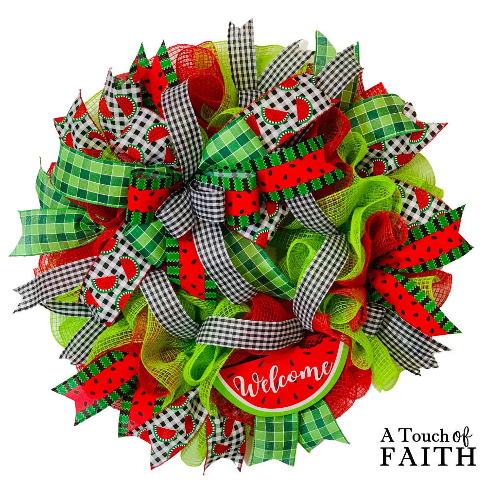 Watermelon Welcome Wreath, A Touch Of Faith
