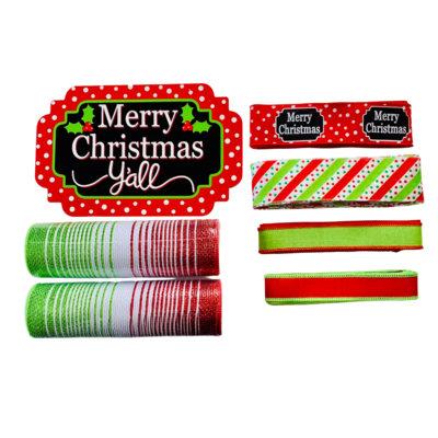 Merry Christmas Red & Lime Green Wreath Kit
