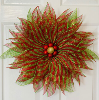 Christmas Red Green Poinsettia Flower Wreath