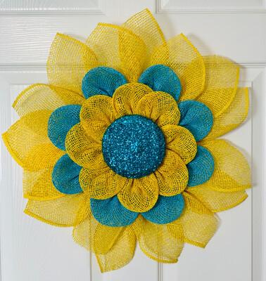 Yellow & Turquoise Sunflower Flower Wreath