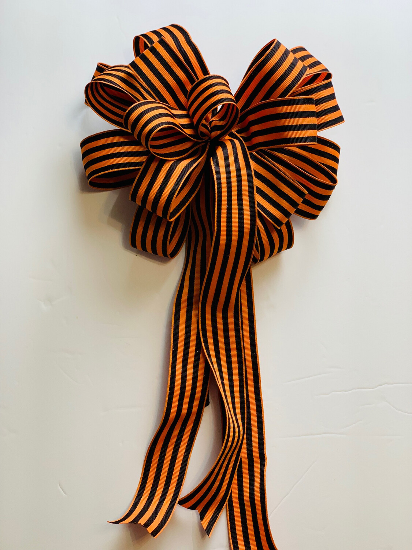 Fall Orange & Black Striped Bow