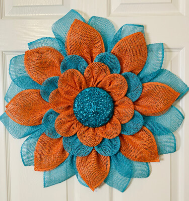 Turquoise & Orange Flower Wreath