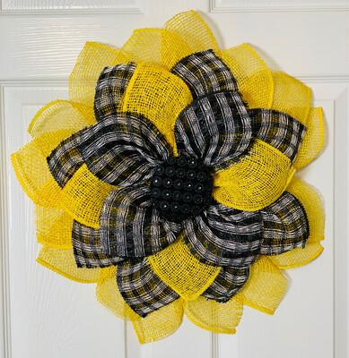 Yellow & Black Check Sunflower Wreath