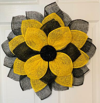 Yellow Black Sunflower Wreath