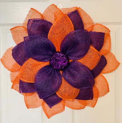 Purple & Orange Flower Wreath