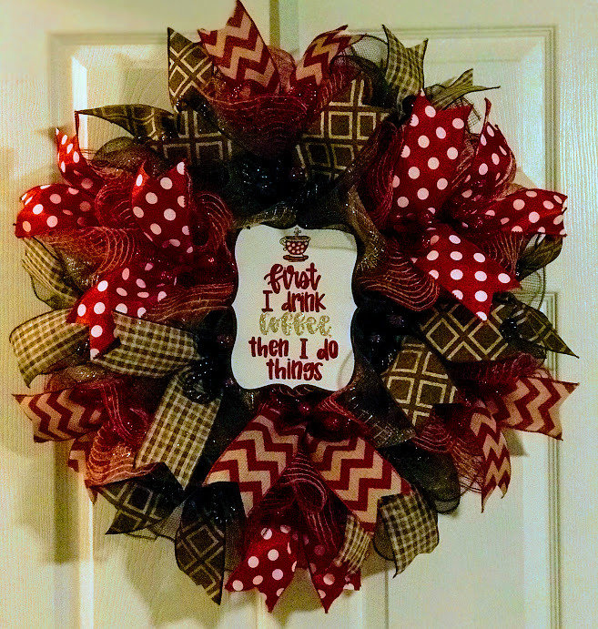 Coffee Lovers Gift, Everyday Wreath, Kitchen Wreath, Kitchen Wall Decor, A Touch of Faith