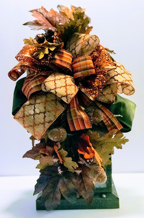Fall Lantern Swag Acorns Leaves Berries Centerpiece Candle Holder Sconce Autumn Wreath A Touch of Faith